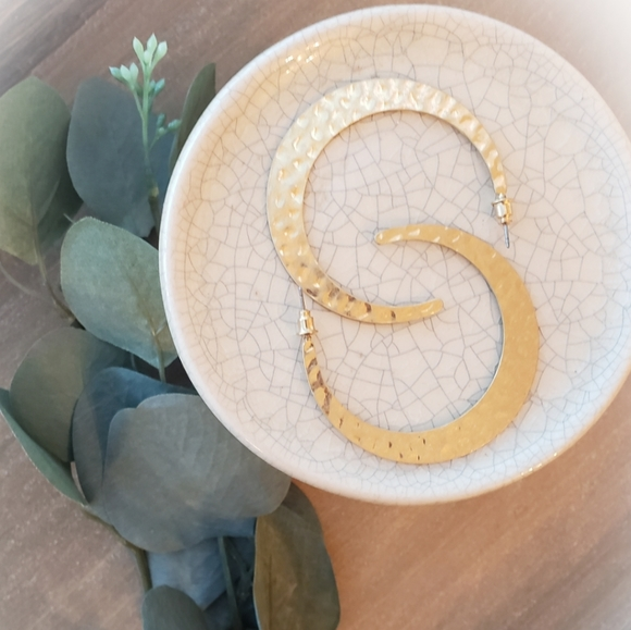 Anthro Hammered Gold Crescent Hoops